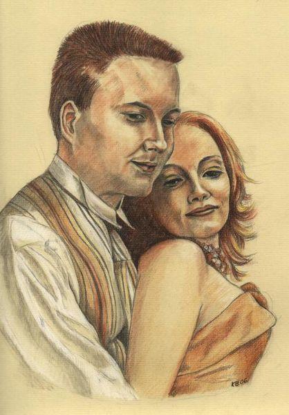 Brautpaar, Heirat, Zeichnung, Zeichnungen