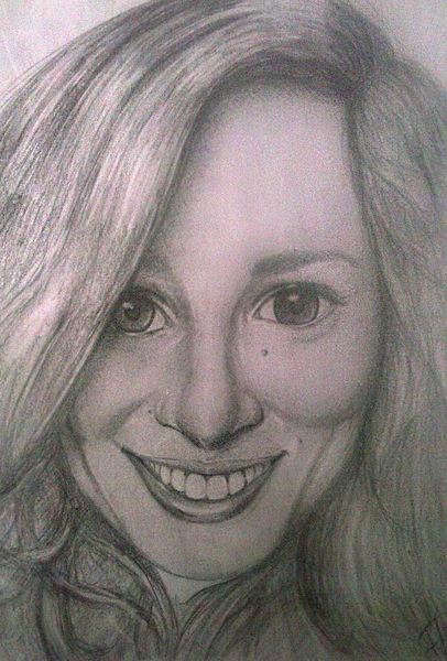 Frau, Freundschaft, Freude, Gesicht, Bleistiftzeichnung, Illustrationen