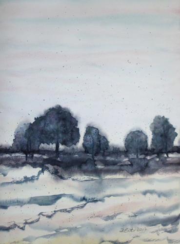 Landschaft, Blau, Licht, Baum, Aquarell