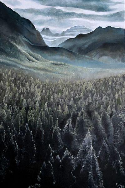 Nadelwald, Berge, Natur, Wald, Landschaft, Malerei