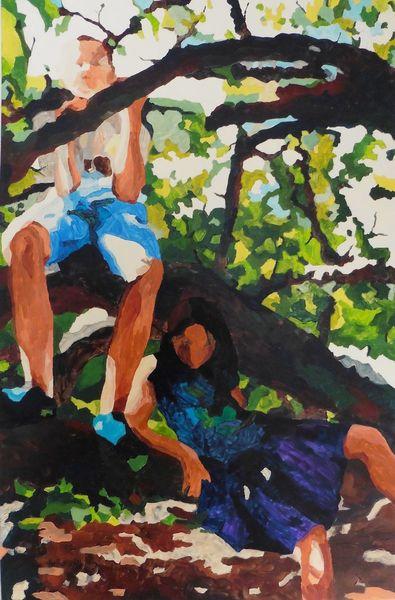 Mädchen, Baum, Äste, Laub, Junge, Malerei
