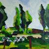 Himmel grün, Baum, Weide, Kuh