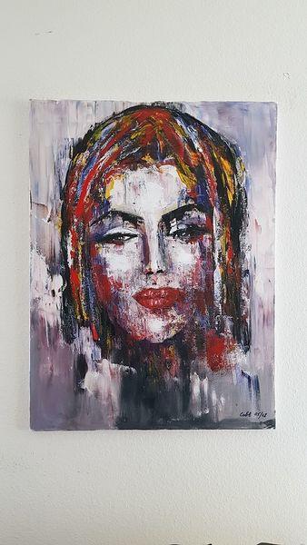 Portrait, Zeitgenössische kunst, Spachteltechnik, Abstrakte malerei, Abstrakte kunst, Acrylmalerei
