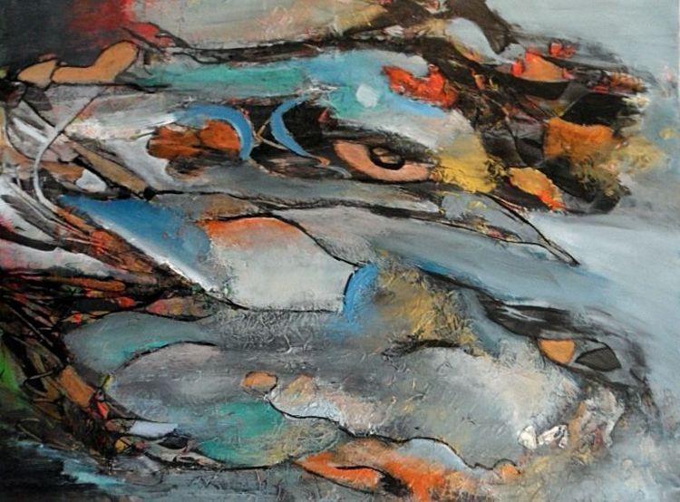 Silber, Zeitgenössische kunst, Struktur, Moderne malerei, Blau, Gemälde