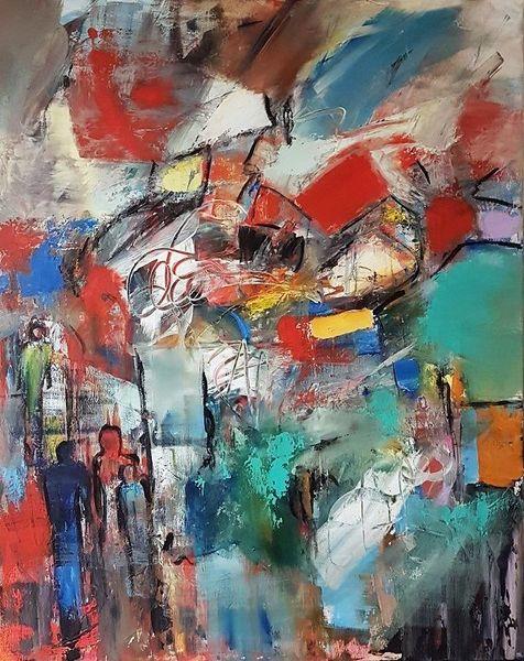 Abstrakte malerei, Abstrakte kunst, Gemälde abstrakt, Grün, Moderne malerei, Acrylmalerei