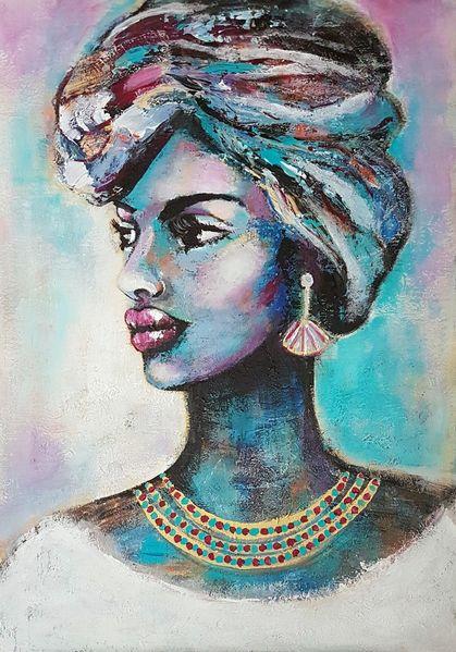 Portraitsmalerei, Zeitgenössisch, Zeitgenössische malerei, Afrikanische frau, Malerei, Acrylmalerei