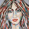 Portrait, Gemälde abstrakt, Frau, Abstrakte malerei
