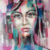 Gemälde abstrakt, Gesicht, Abstrakte malerei, Moderne malerei