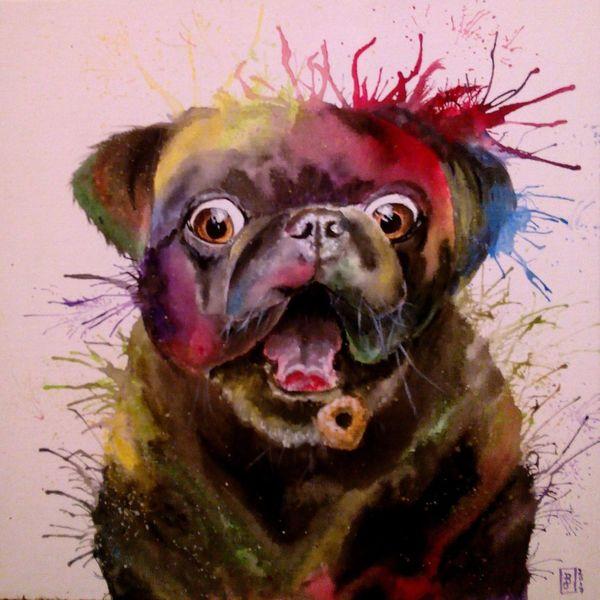 Bunt, Mops, Acrylmalerei, Malerei