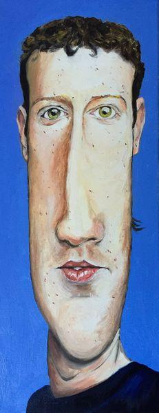 Portrait, Facebook, Zuckerberg, Malerei, Mann