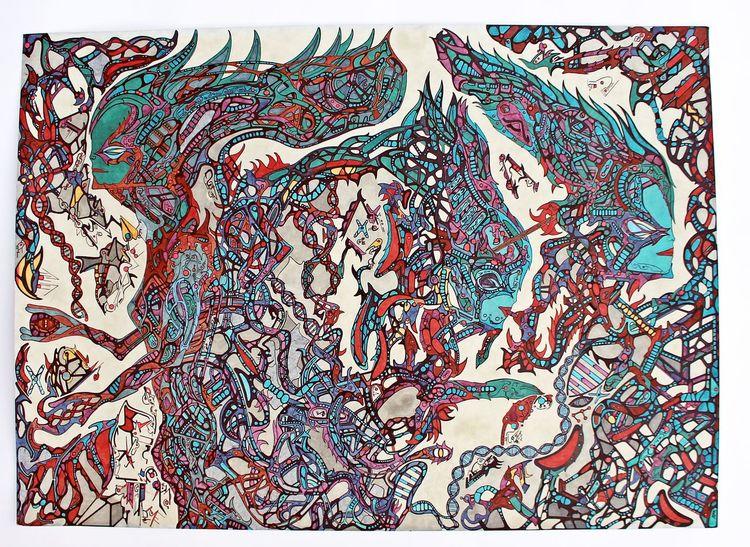 Verbindungen untereinander, Dna, Türkis, Welt, Außerirdische einflüsse, Rot