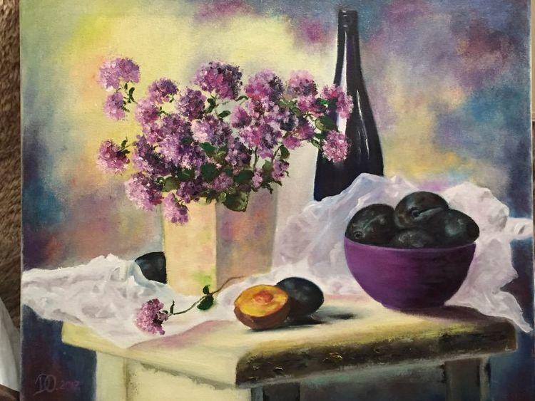 Pflaume, Ölmalerei, Blumen, Flasche, Lila, Malerei