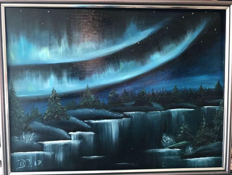 Dunkel, Blau, Nordlicht, Ölmalerei, Fluss, Tanne