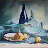 Flasche, Blau, Zwiebeln, Tuch