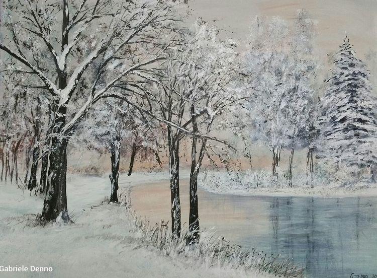 Winter, Landschaft, Baum, Landschaftsmalerei, Schnee, Winterlandschaft