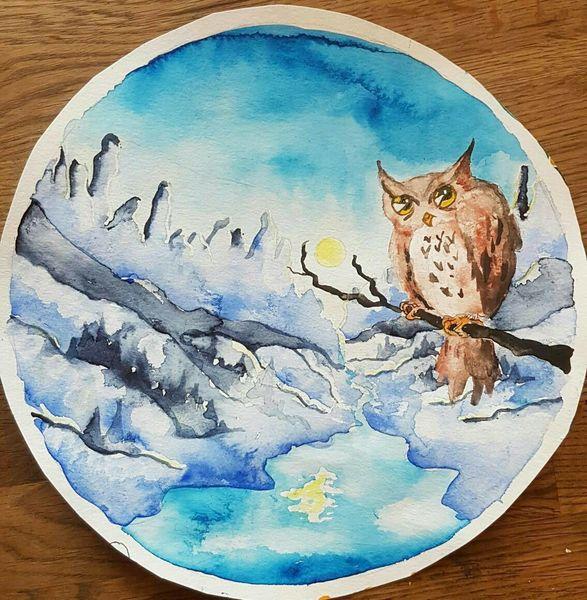 Stille, Natur uhu kauz, Nacht, Berge, Blau, Vollmond
