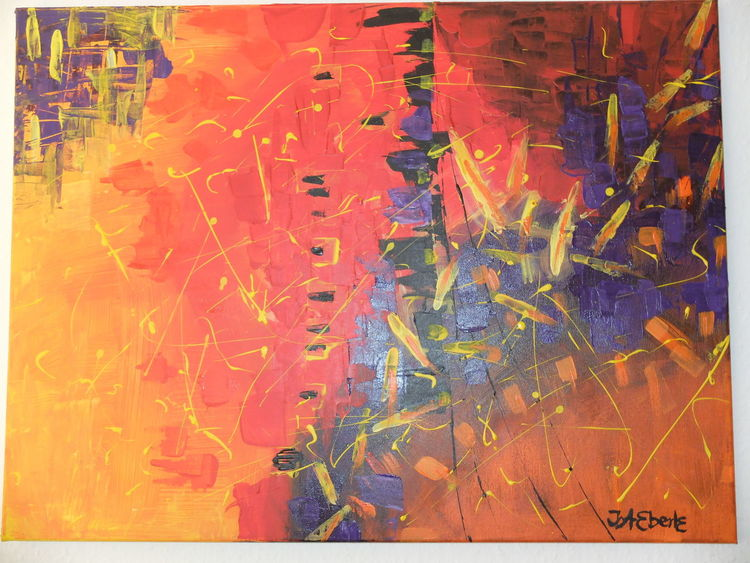 Acrylmalerei, Orange, Lila, Gelb, Malerei abstrakt, Acryl auf canvas