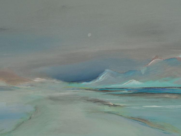 Abstrakte landschaft, See, Wasser, Wolken, Acrylmalerei, Berge