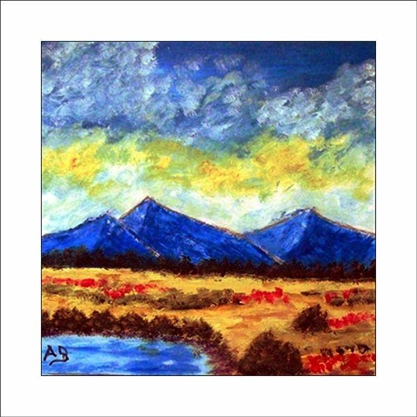 Wald, Blumen, Landschaft, Gemälde, See, Ölmalerei