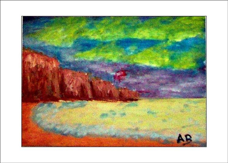 Landschaftsmalerei, Meer, Himmel, Moderne kunstölbild, Küste, Klippe