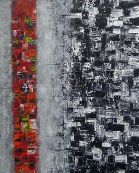 Architektur, Malerei, Rot schwarz, Grün, Abstrakt, Grau