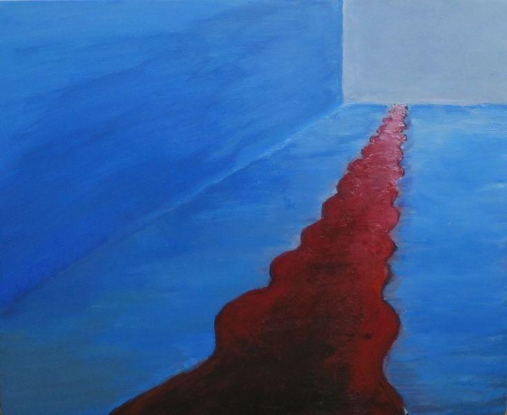 Zeit, Rot, Surreal, Blau, Leere, Malerei