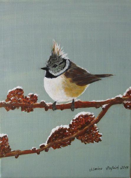 Vogel, Tiere, Haubenmeise, Malerei