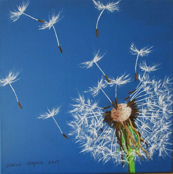 Pusteblumen, Pflanzen, Blau, Malerei