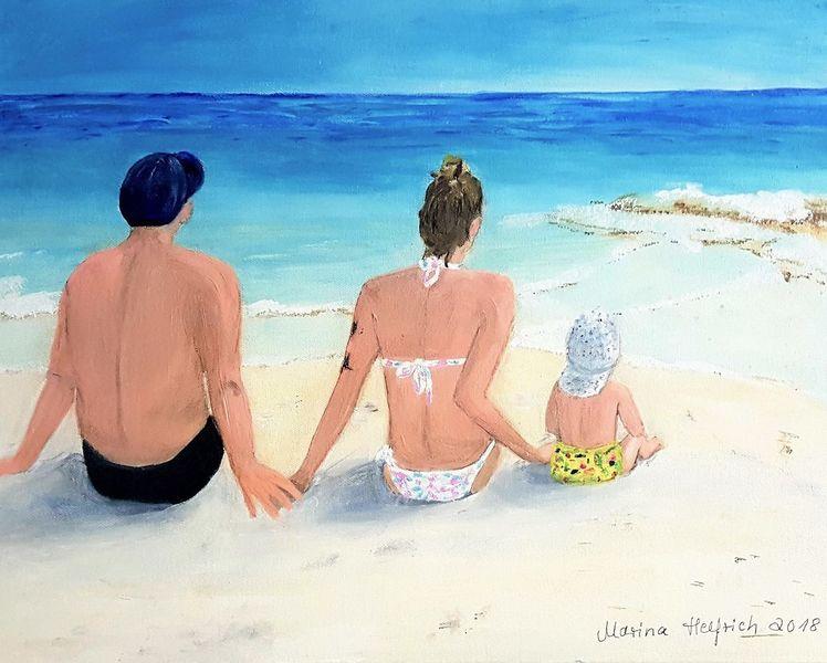 Meer, Familie, Urlaub, Paradies, Sonne, Malerei