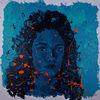 Frau, Portrait, Blau, Malerei