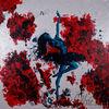 Frau, Rot, Abstrakt, Malerei