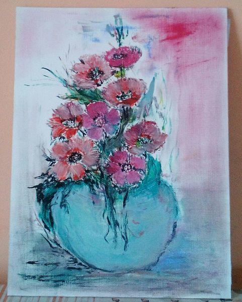 Vase, Blumen, Ölmalerei, Malerei