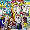 Ölmalerei, Königshof, Mond, Zeitgenössisch