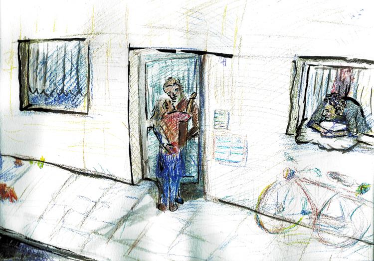 Comic, Illustration, Geschichte, Menschen, Wohnung, Mischtechnik
