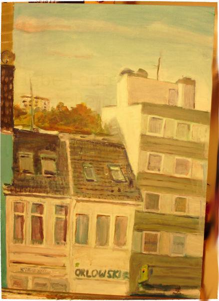 Acrylmalerei, Ausblick, Himmel, Häuser, Malerei, Wohnung