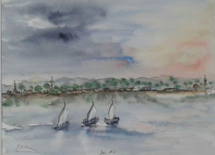 Nil, Wasser, Schiff, Ägypten, Landschaft, Aquarell