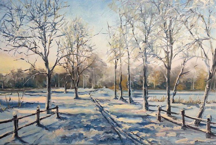 Landschaft, Russland, Winter, Natur, Malerei