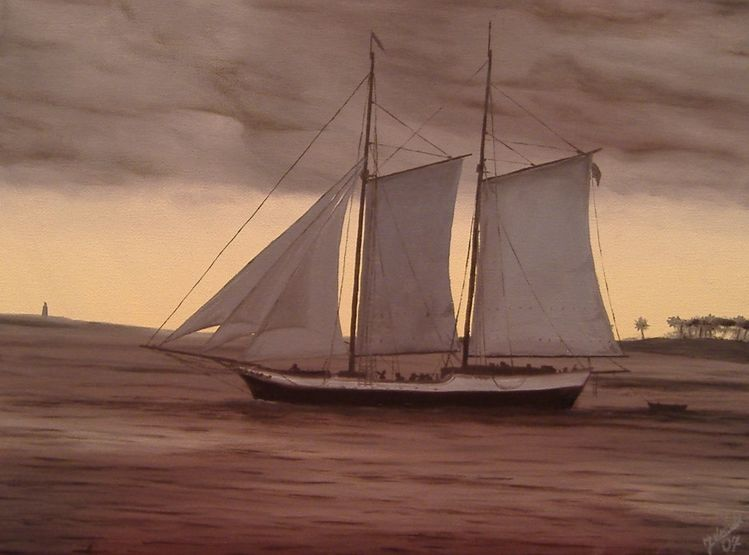 Sturm, Schiff, Meer, Malerei