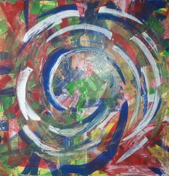 Rot, Grün, Blau, Bunt, Spachteltechnik, Acrylmalerei
