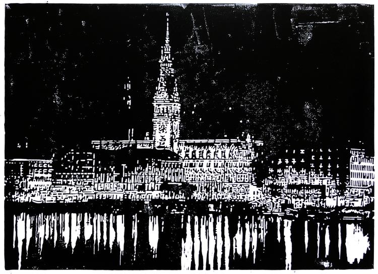 Silhouette, Hamburg, Nacht, Linolschnitt, Skyline, Nebenbeigekritzel