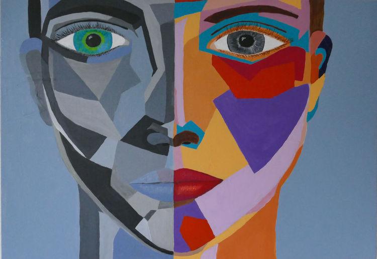 Übersicht, Puzzle, Frau, Malerei, Klarheit, Gesicht