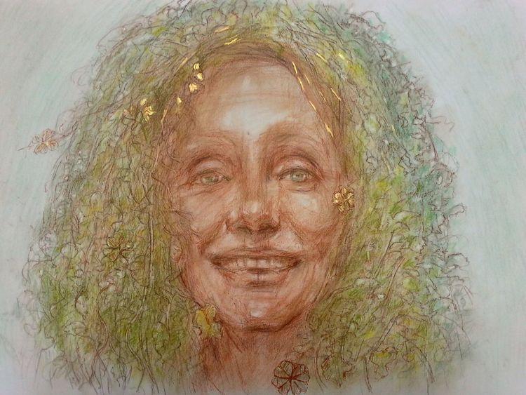Frühling, Portrait, Zeichnung, Spring fairy, Zeichnungen