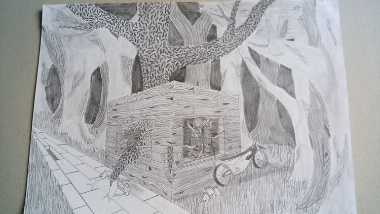 Natur, Zerstörung, Gebäude, Zeichnungen