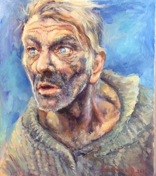 Portrait, Malerei, Mann, Welle