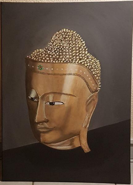 Buddha, Malerei, Figural, Gold, Acrylmalerei