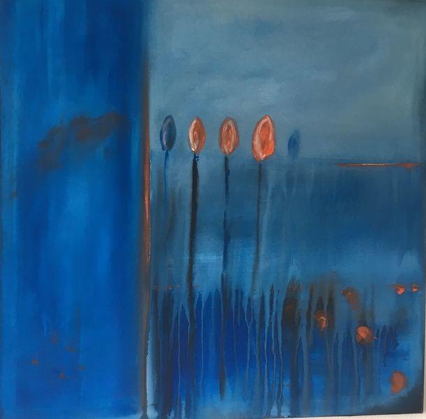 Abstrakt, Blau, Orange, Blüte, Malerei