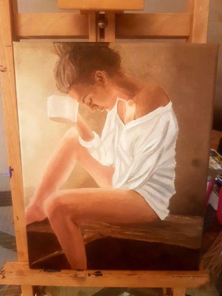 Malerei, Eine frau, Währen, Rückmeldung, Fertigstellen, Portrait