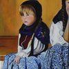Portrait, Das mädchen, Malerei, Mädchen