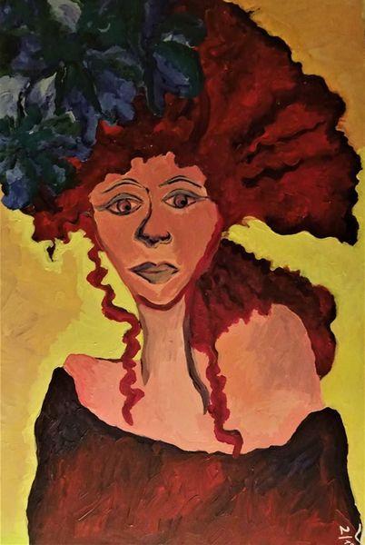 Malerei, Locken, Rot, Frau, Blumen,