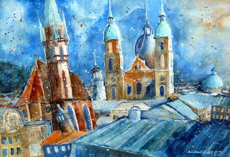 Aquarellmalerei, Kirche, Salzburg, Architektur, Österreich, Aquarell